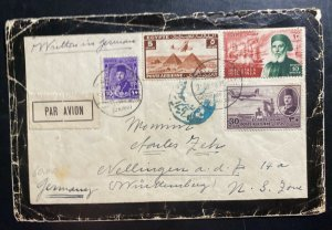 1948 Cairo Egypt Airmail Mourning Cover To Germany Ibrahim Pacha Centenary Stamp