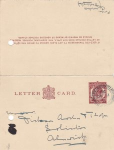 England 1929 Northumberland Cancel Stamp Letter Card to Alnwick Ref 34854