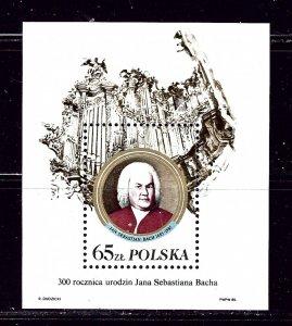 Poland 2712a MNH 1985 Bach S/S with Inscription