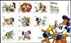 2018 Italy Walt Disney, 90 Years Mickey Mouse, Self Adhesives, Sheet VF/MNH!!
