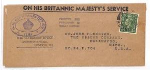 AJ152 GB HMSO OFFICIAL WRAPPER 1940s Stationery Office KGVI Cover Kalamazoo USA