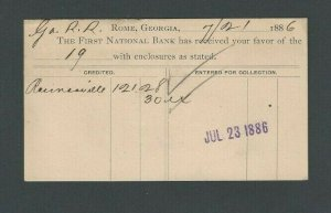 DATED 1886 PC FIRST NATIONAL BANK OF ROME GA