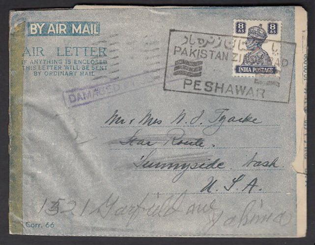 1947 KGVI India Air Letter stationary used in Pakistan + slogan cancel, damaged