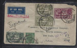 INDIA POSTAL HISTORY (P2307B) 1934 KGV A/M REG 8A+4AX2+2A+ 1/2A TO USA