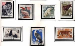 Russia Scott 2905-2911 used CTO zoo animal Imperforate  set similar cancels