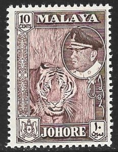 MALAYA JOHORE 1960 10c TIGER Pictorial Scott 163 MNH
