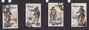 Bahamas-Sc#625-8- id5-used set-Ships-Pirates-1987-