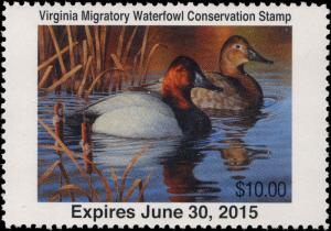 VIRGINIA  #27  2014 STATE DUCK STAMP CANVASBACK By Guy Crittenden