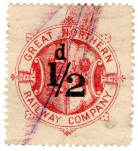 (I.B) Great Northern Railway : Parcel Stamp ½d (unappropriated)