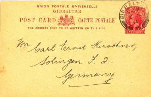 Gibraltar 1d KGV Postal Card 1914 Gibraltar, 25 to Solingen, Germany.