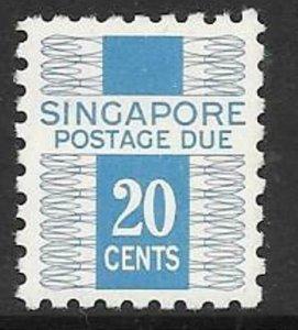 SINGAPORE SGD7 1968 20c NEW BLUE  POSTAGE DUE MNH