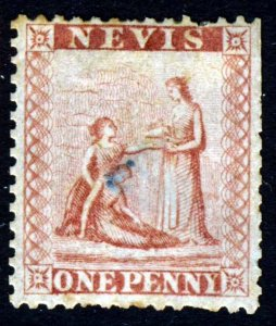 NEVIS Queen Victoria 1862 One Penny Dull Lake SG 1 MINT