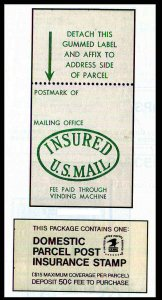 US Domestic Parcel Post Insurance Stamp Booklet -50¢ - MNH - #QI4 1978 CV $10.00