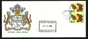 Guyana, Scott cat. C5-C6. UNESCO & UNICEF o/p on Butterflies. First day cover.