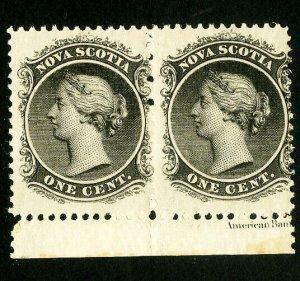 Nova Scotia Stamps # 8 Fresh pair OG NH Scott Value $60.00