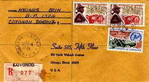 Dahomey 60F Peuhl Herdsman and Cattle (2) and 40F U.N. 1970 Cotonou R.P. Daho...