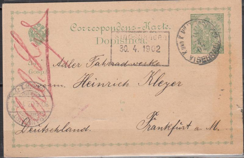 Bosnia & Herzegovina - 30.4.1902 PC to Frankfurt (1508)