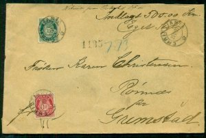 NORWAY 1903, Money Letter with 10ore + 35ore tied, arrival & wax seals reverse