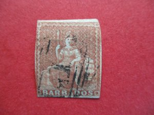 SG5 Victorian Barbados 1855 4d Brownish Red on Blued Paper No Watermark Used