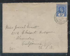 BRITISH HONDURAS  (P2006B) 1909 KE 5C BELIZE TO USA