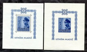 x049 - CROATIA 1943 WW2 Lot of (2) Souvenir Sheets MNH. Imperf & Perforated