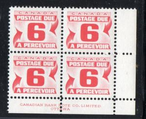 Canada Sc J26 1967 6c postage due stamp plate block of 4 LR mint NH