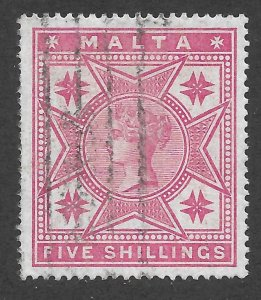 Doyle's_Stamps: Jumbo 4-Margin Well Centered Scott #14 Malta1886 Rose Victorian