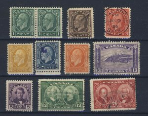 11x Canada Used stamps #195-1c Pair MHR To #201-13c & 146 to 148 GV = $48.00