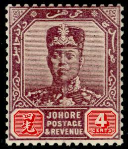 MALAYSIA - Johore SG81, 4c  dull purple & carmine, NH MINT. Cat £29.