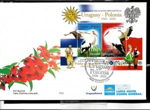 URUGUAY 2020 POLAND DIPL REL.100° ANIV FAUNA BIRDS TYPICAL DRESSES FLAGS S/S FDC