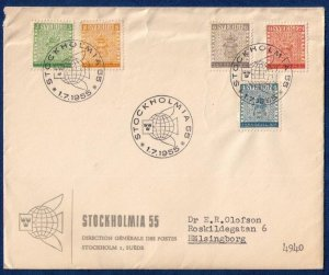 STOCKHOLMIA 1955 Expo Stockholm Stamp Exposition Scott 479-483 Complete Set