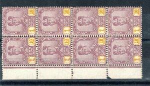 Malaysia - Johore 1941 10c thin striated paper MNH block of 8
