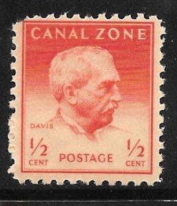 Canal Zone 136: 1/2c General Davis, single, MH, F-VF