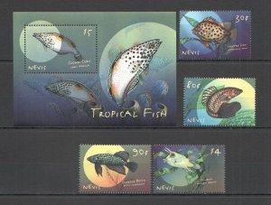 QB0451 NEVIS FAUNA MARINE LIFE TROPICAL FISH 1BL+1SET MNH