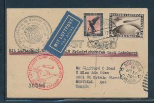 SI #57N 1930 SO. AMERICA LZ127 ZEPP FLT POSTCARD GERMANY TO LAKEHURST VF BU6838