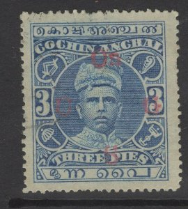 INDIA-COCHIN SGO1 1913 3p BLUE USED