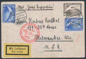 SI #57F GERMANY (2) #C38, C39 ZEPPELIN FLIGHT COVER TO LAKEHURST 1930 WL5937