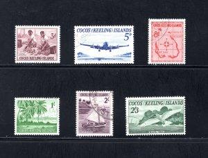 Cocos Islands, Sc 1-6,  VF, Used, Complete Set, CV $10.70 ..... 1420001