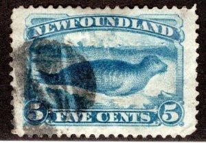 47a, NSSC, Newfoundland, 5c dark blue, Harp Seal, VF, Used,postage stamp