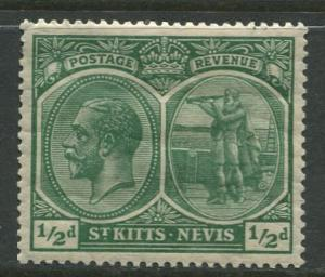 St. KITTS-NEVIS -Scott 37 -KGV-1921- MLH -WMK 4- Yel Green -Single  1/2p -Stamp