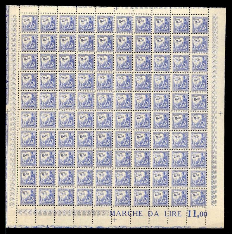 Italy 1941 11.00 L Fascist Social Security Stamp Mint Sheet #245B