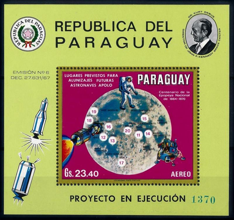 [66067] Paraguay 1970 Space Travel Weltraum Moon Souvenir Sheet MNH