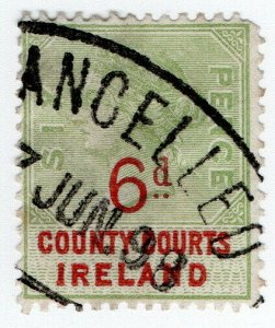 (I.B) QV Revenue : County Courts Ireland 6d (1895)