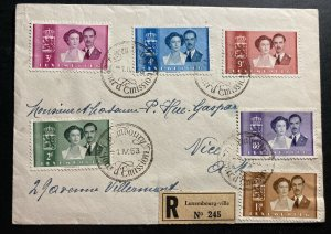 1953 Luxembourg First Day Cover FDC To Nice France Royal wedding complete Set