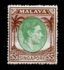 SINGAPORE SG30 1951 $5 GREEN & BROWN p17x18 MTD MINT