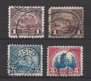 United States 571 thru 573 $ Values
