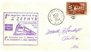 1934 Co. Bluff S & K.C. R.P.O.Railroad + Train Cachet #108