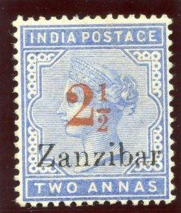 Zanzibar 1895 QV 2½ on 2a pale blue MLH. SG 27. Sc 31.