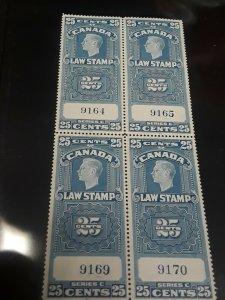 Canada MNH 25c Law Block Rare value $200