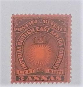 British East Africa 18. 1890-94 3a Black on red